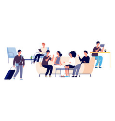 Hostel concept flat people characters vector