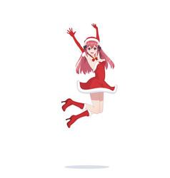 joyful anime manga girl as santa claus in a jump vector image