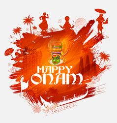 kathakali dancer on background for happy onam vector image