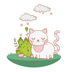 Kitty cat outdoors cartoon vector
