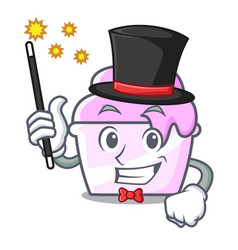 Magician ice cream paper cup mascot cartoon vector