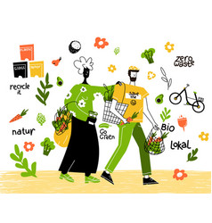 man and woman vegetarians vector image