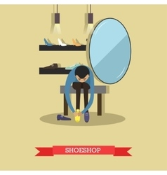 Man trying different shoes in shoe store Shopping vector