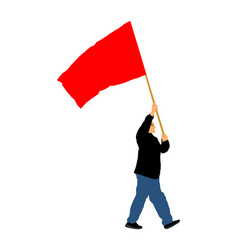 Man walking with red flag protester wanted rights vector