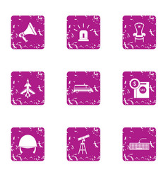 Observation of sky icons set grunge style vector