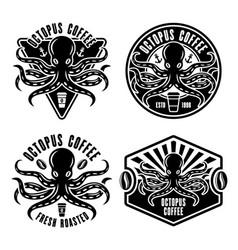 Octopus coffee set four emblems badges vector