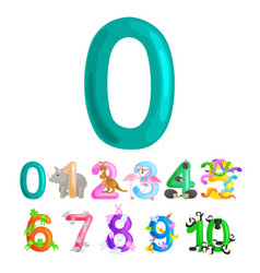 Ordinal numbers 0 for teaching children counting vector