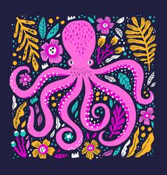 Pink octopus hand drawn flat vector