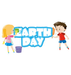 Poster design with children and earth day vector