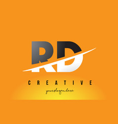 Rd r d letter modern logo design with yellow vector