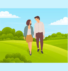 romantic couple walks in countryside green vector image