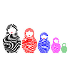 russian nesting dolls matrioshka set icon vector image