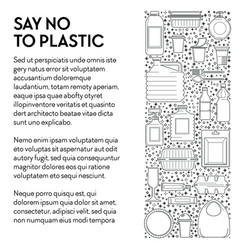 say no to plastic banner with single-use plastics vector image