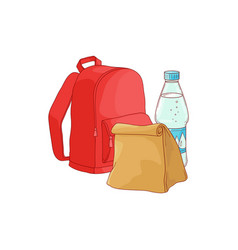 School backpack with paper lunch bag and bottle of vector