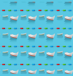 seamless pattern of boats in the blue sea and vector image