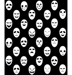 Seamless white ghost mask pattern vector