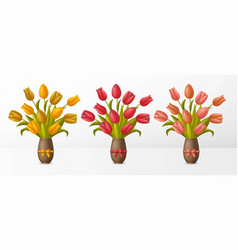 Set bouquets with tulips in vase with bows vector