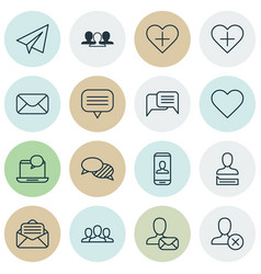 Set of 16 social network icons includes text vector
