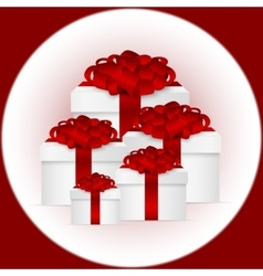 Set of gifts in a box with red bow vector
