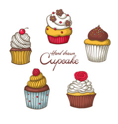 set of hand drawn cupcake vector image vector image