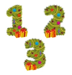 set of numbers Christmas tree from 1 to 3 vector image