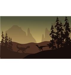 Silhouette of allosaurus and Eoraptor vector