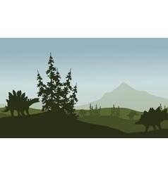 Silhouette of stegosaurus in green fields vector