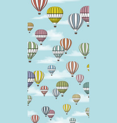 Some hot air balloons in front of blue sky vector