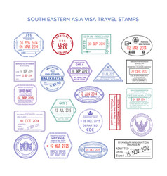South eastern asia color travel visa stamps set vector