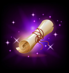 sparkly paper scroll icon for game or mobile app vector image