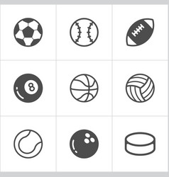 sport balls trendy flat icons eps10 vector image