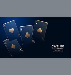 stylish casino cards on dark blue background vector image