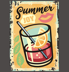 summer joy tropical theme with exotic juice vector image