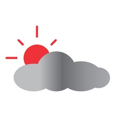 Sun and cloud icon on white background sun and vector