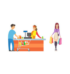 Supermarket cashier and customers of shop vector