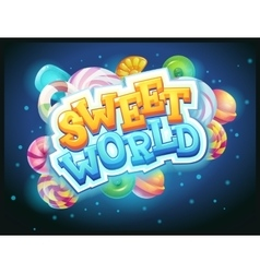 Sweet world GUI game window vector image