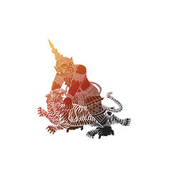 Tiger fighting with giant in thai traditional pain vector