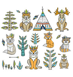 Tribal animal woodland forest animals collection vector