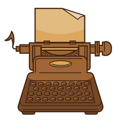 typing machine and paper isolated icon novel vector image