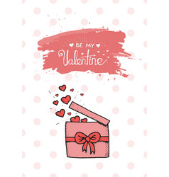 valentine gift is being openned to release hearts vector image
