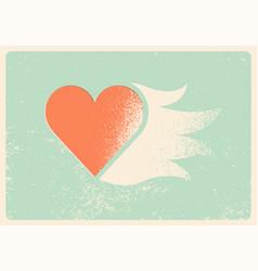 Valentine greeting card heart stencil splash vector