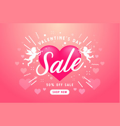 valentines day sale banner with cupid for campaign vector image