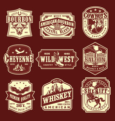 vintage wild west monochrome emblems set vector image