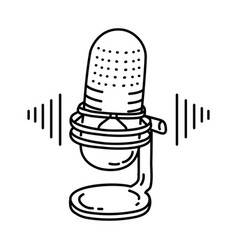 voice note icon doodle hand drawn or outline icon vector image