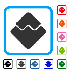 Waves currency framed icon vector