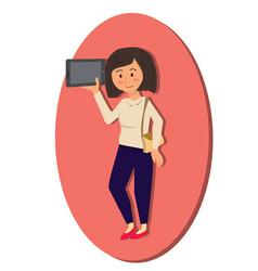 Woman holding digital tablet cartoon vector
