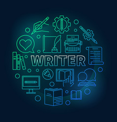 writer colored round linear vector image
