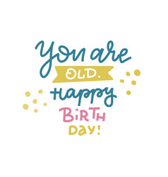 you are old happy birthday - funny comical vector image