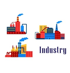 Flat factory industrial buildings vector image vector image