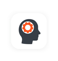 gear in head icon flat style vector image
